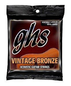 Encordoamento GHS VN-XL Vintage Bronze .011 /.050 para Violão