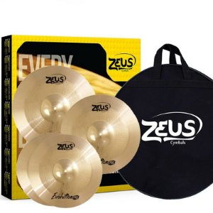 "Kit de Pratos Zeus Cymbals SET C Evolution Pro 14""/16""/20"""