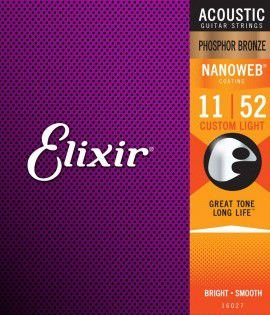 Encordoamento Elixir 0.11/0.52 Custom Light 16027 Nanoweb para Violão