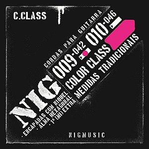 "Encordoamento NIG Color Class .009"" Rosa para Guitarra"