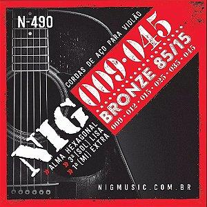 """Encordoamento Nig N-490 .009""""/.045"""" Bronze 85/15 para Violão Aço"""