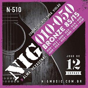"""Encordoamento Nig N-510 .010""""/.050"""" Bronze 85/15 para Violão 12 Cordas"""