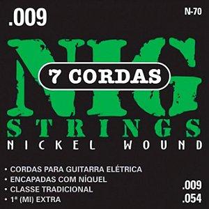 """Encordoamento Nig N-70 .009""""/.054"""" para Guitarra Elétrica"""