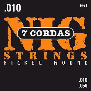 """Encordoamento Nig N-71 .010""""/.056"""" para Guitarra Elétrica"""