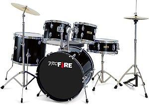 Bateria Acústica Pro Fire Ferragens Cromadas Preta