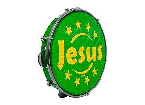 "Pandeiro Luen Percussion 10"" Aro ABS Verde Pele Holográfica"
