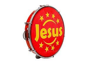 """Pandeiro Luen Percussion 10"""" Aro ABS Vermelho Pele Holográfica"""
