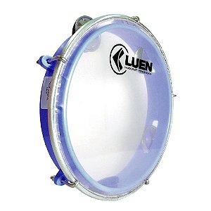 """Pandeiro Luen Percussion 8"""" Aro ABS Azul Pele Cristal"""