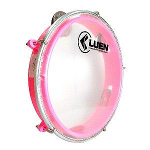 "Pandeiro Luen Percussion 8"" Aro ABS Rosa Pele Cristal"