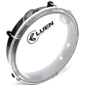 "Pandeiro Junior Luen Percussion 8"" Aro ABS Preto Pele Cristal"