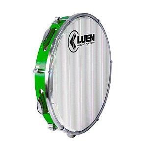 "Pandeiro Luen Percussion 10"" Aro ABS Verde Pele Holográfica Lisa"
