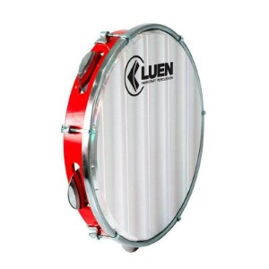 "Pandeiro Luen Percussion 10"" Aro ABS Vermelho Pele Holográfica Lisa"