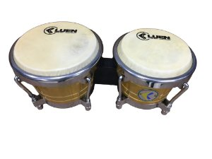 "Bongô Luen Percussion 6""/7"" Ripa Natural Cromadas com Pele Animal"