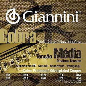Encordoamento Giannini GESVM .011/.034 Tensão Média Cobra para Viola