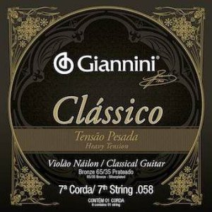 Encordoamento Avulso Giannini GENWPA-7 .058 Tensão Pesada Clássico para Violão