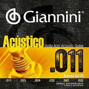 Encordoamento Giannini GESPW .011/.052 Bronze 65/35 para Violão