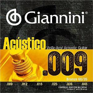 Encordoamento Giannini GESWAL .009/.045 Bronze 65/35 para Violão
