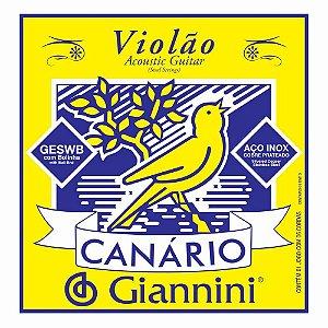 Encordoamento Giannini GESWB .011/.045 Tensão Média Canário Series para Violão