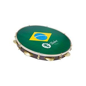 """Pandeiro Timbra 10"""" Madeira Fórmica Escura Aro Dourado com Pele Brasil"""