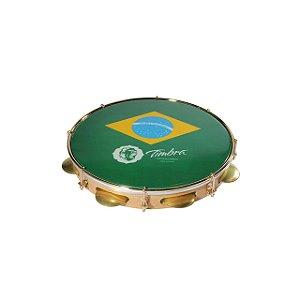 """Pandeiro Timbra 10"""" Madeira Fórmica Clara Aro Dourado com Pele Brasil"""