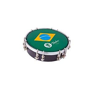 """Tamborim Timbra 06"""" Madeira Aro Cromado com Pele Brasil"""