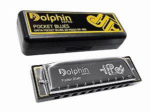 Gaita Diatônica Dolphin Pocket Blues 20 Vozes em Abs - C