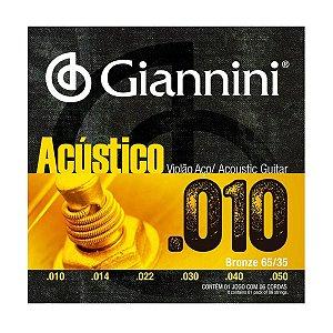 Encordoamento Giannini GESWAM .010/.050 Bronze para Violão
