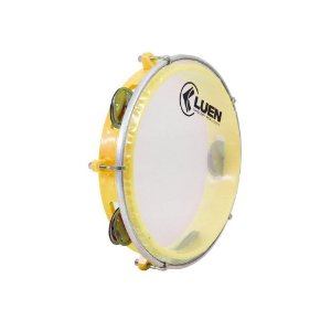 "Pandeiro Junior Luen Percussion 8"" ABS Amarelo Pele Cristal"