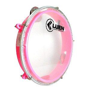 """Pandeiro Junior Luen Percussion 8"""" Aro ABS Rosa Pele Cristal"""