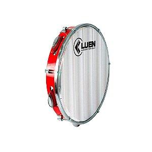 """Pandeiro Luen Percussion 10"""" ABS Vermelho Pele Holográfica"""