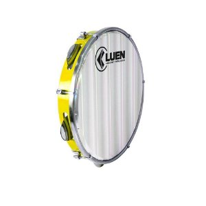 "Pandeiro Luen Percussion 10"" ABS Amarelo Pele Holográfica"
