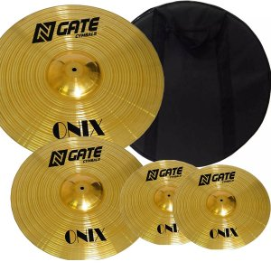 Kit de Pratos N.gate Séries Onix 14HH+16MC+20 Ride com Bag