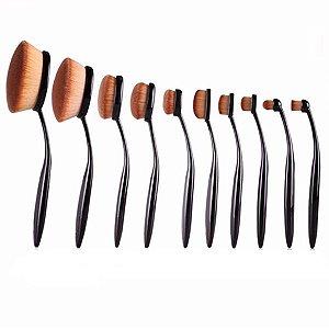 Kit Pincéis Escova para Maquiagem 10 peças