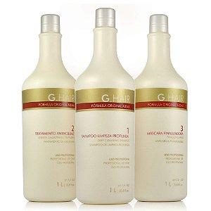 Escova Progressiva G-Hair Kit Profissional - 3x1 Litro