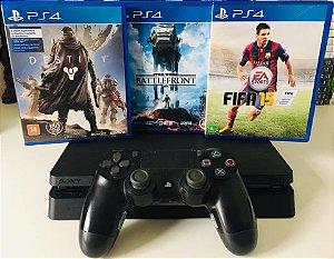 Console - Ps4 com 3 Jogos ( USADO )