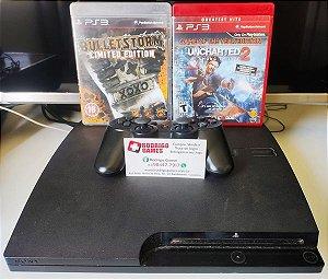 Console - Ps3 160GB com 2 jogos ( USADO )
