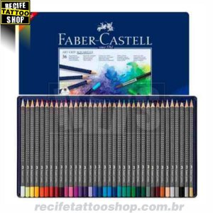 Estojo Metálico de Lápis Art Grip Aquarelável Faber-Castell com 36 cores