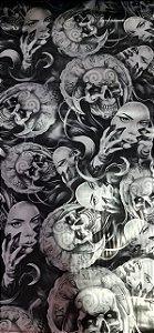 peliculas para pinturas hidrograficas modelo caveiras com mascaras tamanho 1 mts compreimento x 50 cmts de largura