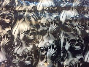 pelicula water transfer printing modelo caveira panico grande medida 1mts x 50 cm largura