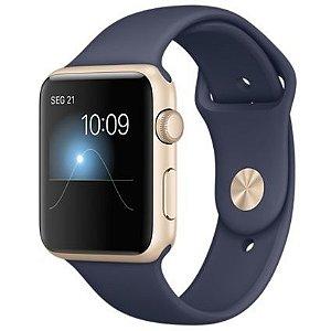 Apple Watch Series 2 Sport 42mm Dourada de alumínio com pulseira esportiva azul meia-noite