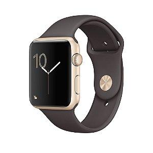 Apple Watch Series 2 42mm Caixa Dourada de Alumínio com Pulseira Marrom Cacau