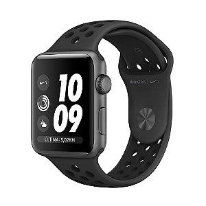 Apple Watch Nike+ Series 2 38mm Caixa cinza-espacial de alumínio com pulseira esportiva Nike cinza-carvão/preta