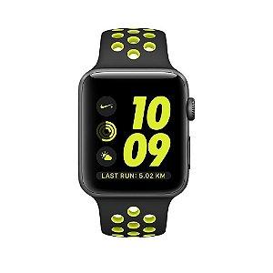 Watch Series 2 Nike+ 42mm Caixa cinza espacial com pulseira esportiva preta/volt