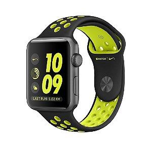 Apple Watch Series 2 Nike+ 42mm Caixa cinza espacial com pulseira esportiva preta/volt