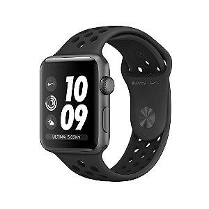 Apple Watch 42mm Nike + Caixa cinza-espacial de alumínio com pulseira esportiva Nike cinza-carvão/preta