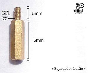 """Espaçador sextavado latão - 1/4"""" (6,35mm) - Macho/Fêmea - Rosca M3 - 6mm"""