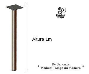 Pé para mesa modelo bancada - Altura 1m - Alumínio Brilhante - Para Tampo de Madeira