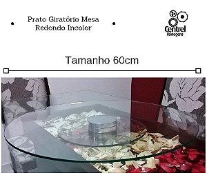 Prato Giratório Mesa 60cm Vidro Incolor Redondo