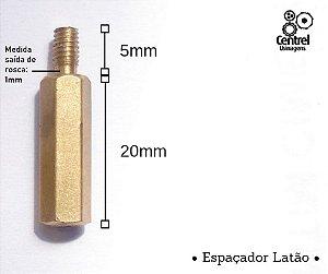 """Espaçador sextavado latão - 1/4"""" (6,35mm) - Macho/Fêmea - Rosca M3 - 20mm"""
