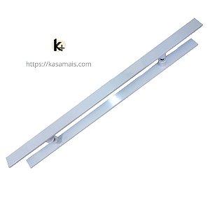 Puxador Porta 80cm total x 50cm entre furos Plano Branco